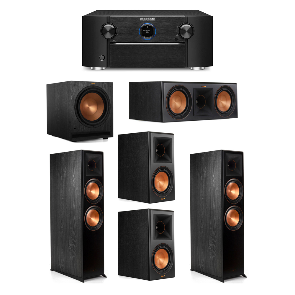 Klipsch 5.1 System with 2 RP-8000F Floorstanding Speakers, 1 Klipsch RP-600C Center Speaker, 2 Klipsch RP-600M Surround Speakers, 1 Klipsch SPL-120 Subwoofer, 1 Marantz SR7012 A/V Receiver