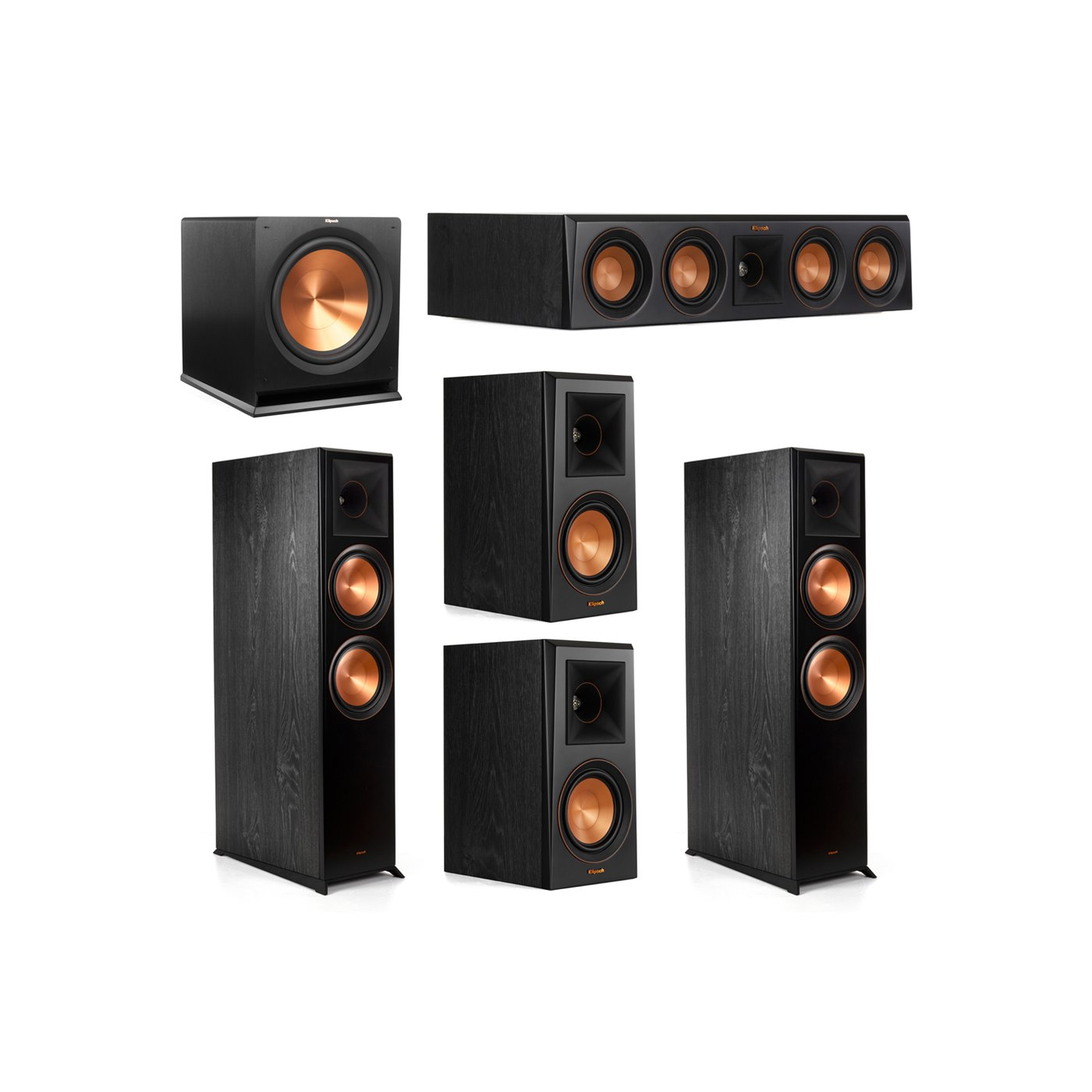 Klipsch 5.1.2 System - 2 RP-8060FA Dolby Atmos Speakers, 1 RP-404C, 2 RP-500M Speakers, 1 R-115SW