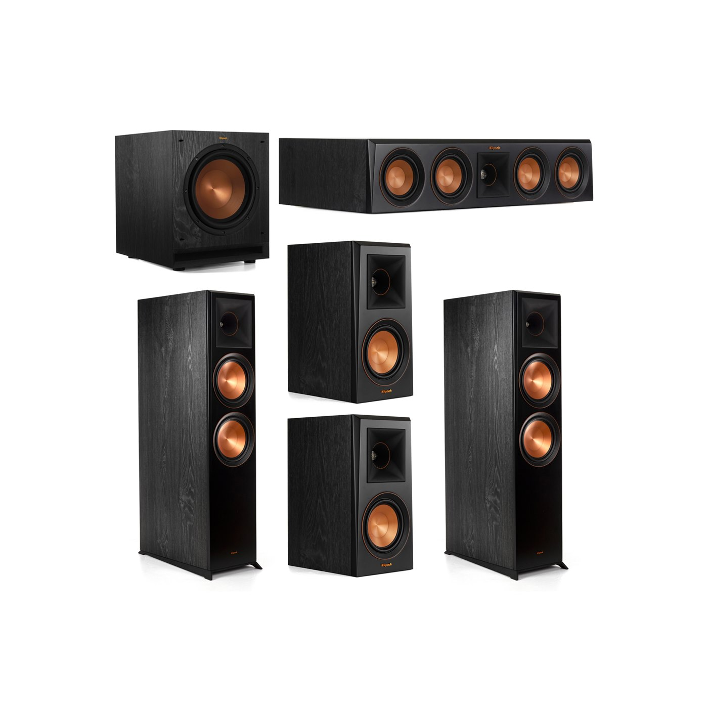 Klipsch 5.1.2 System - 2 RP-8060FA Dolby Atmos Speakers, 1 RP-404C, 2 RP-500M Speakers, 1 SPL-100