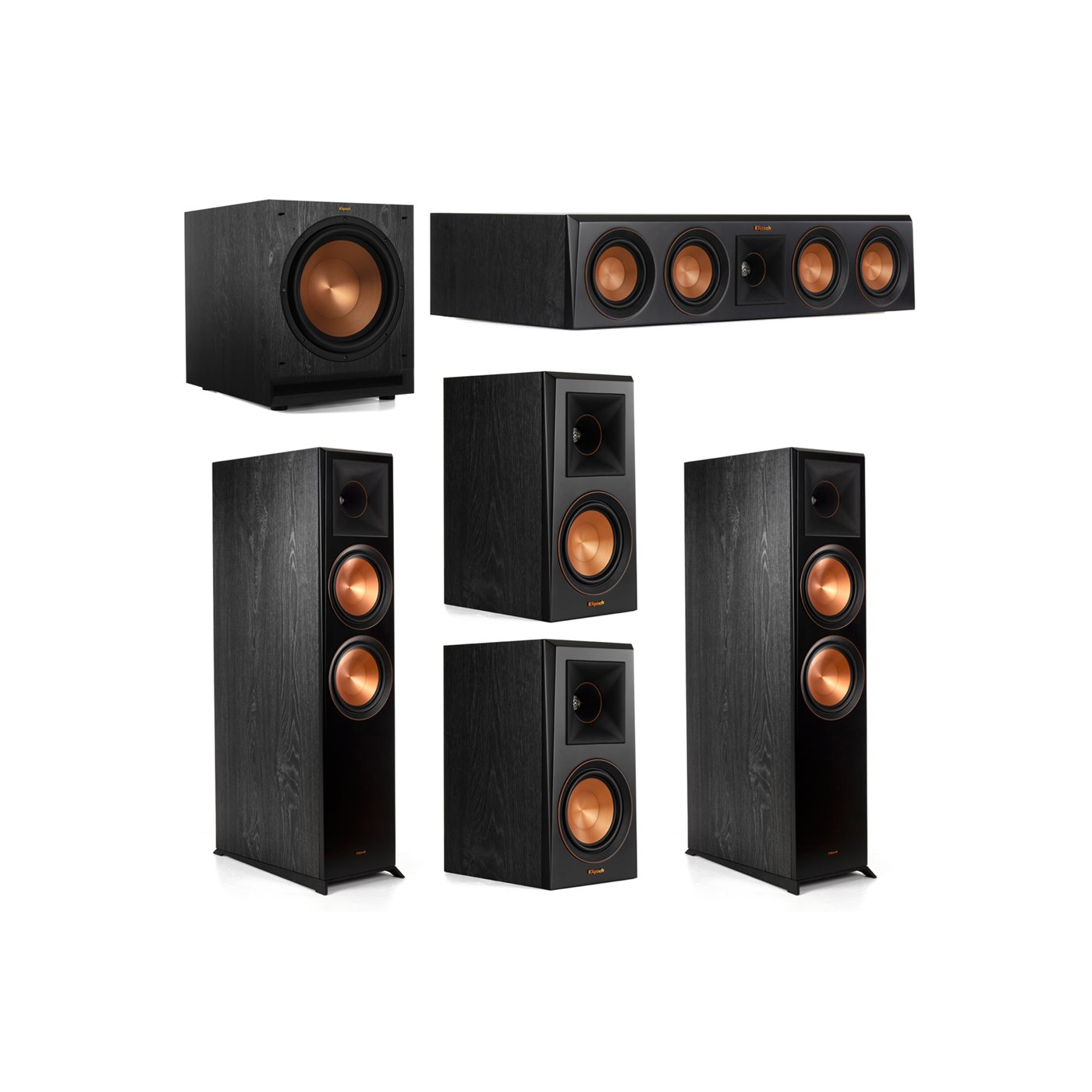 Klipsch 5.1.2 System - 2 RP-8060FA Dolby Atmos Speakers, 1 RP-404C, 2 RP-500M Speakers, 1 SPL-120