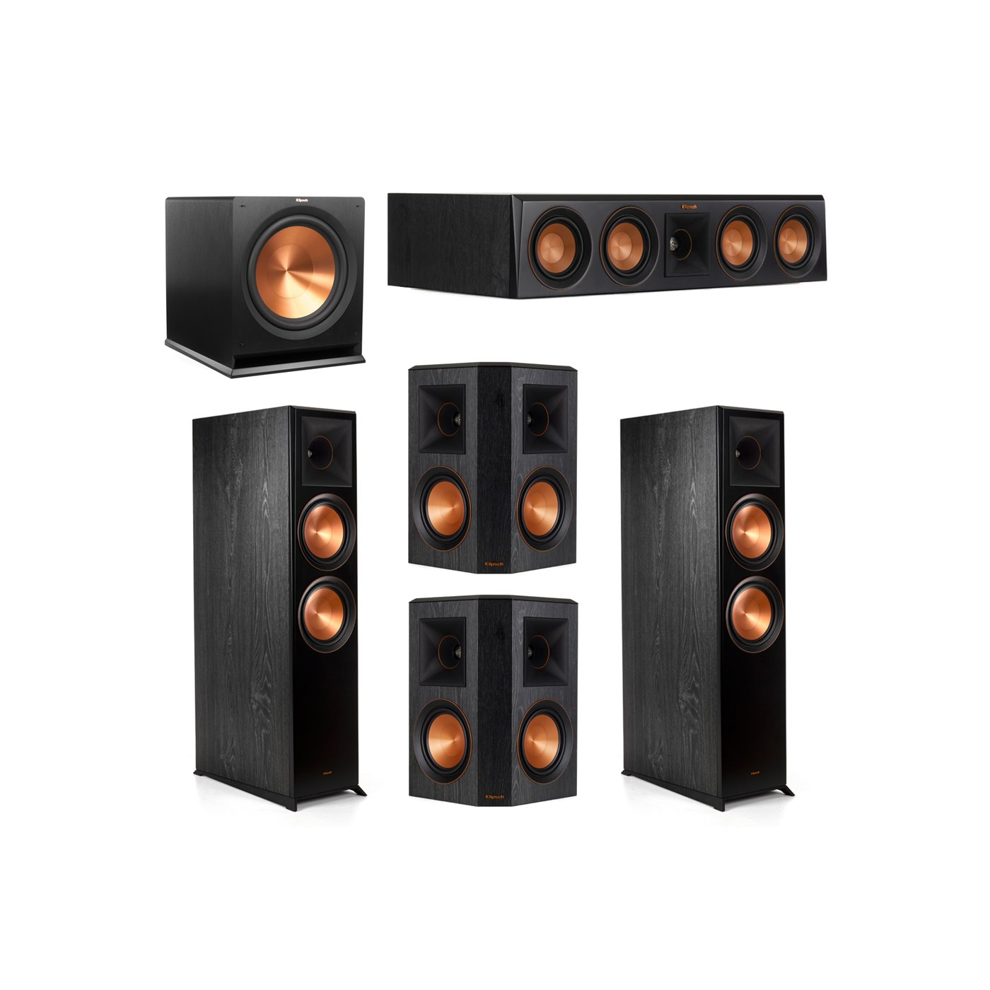 Klipsch 5.1.2 System - 2 RP-8060FA Dolby Atmos Speakers, 1 RP-404C, 2 RP-502S Speakers, 1 R-115SW