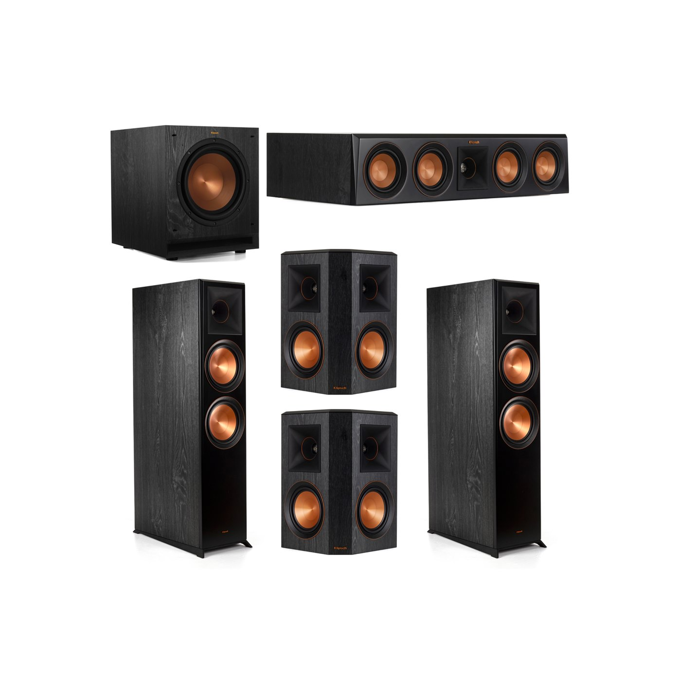 Klipsch 5.1.2 System - 2 RP-8060FA Dolby Atmos Speakers, 1 RP-404C, 2 RP-502S Speakers, 1 SPL-100