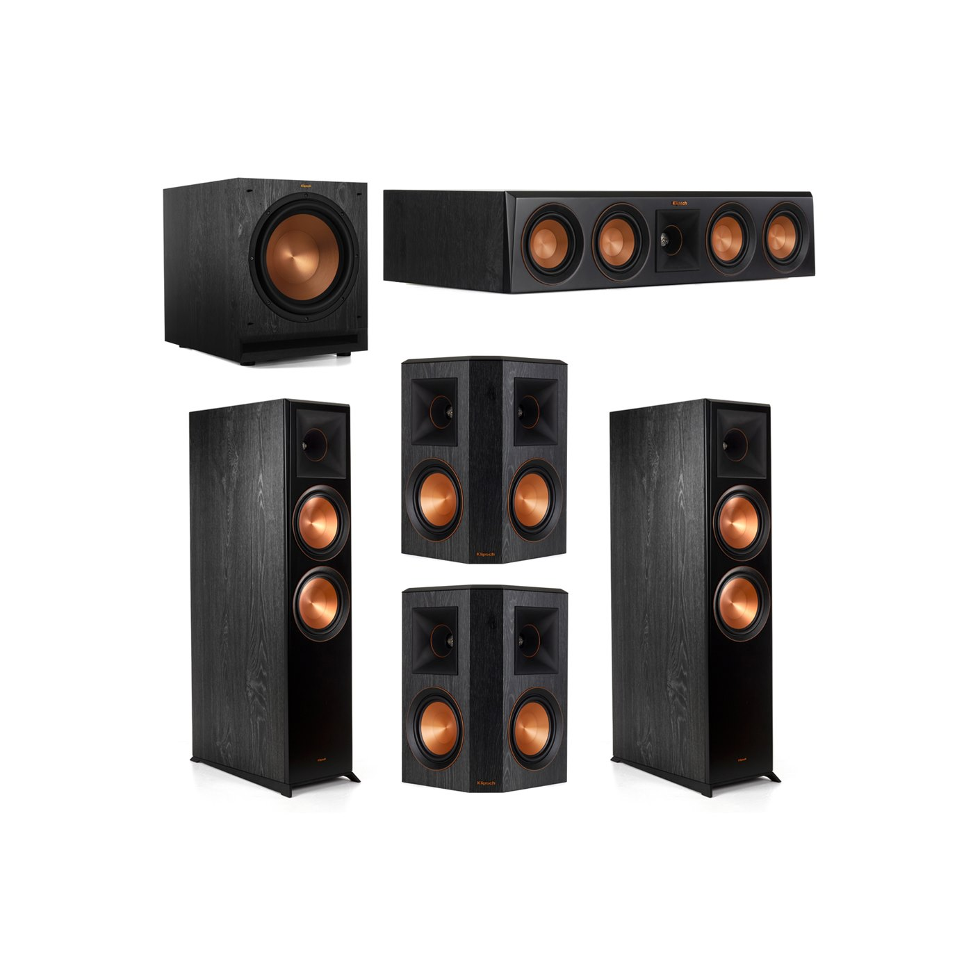 Klipsch 5.1.2 System - 2 RP-8060FA Dolby Atmos Speakers, 1 RP-404C, 2 RP-502S Speakers, 1 SPL-120