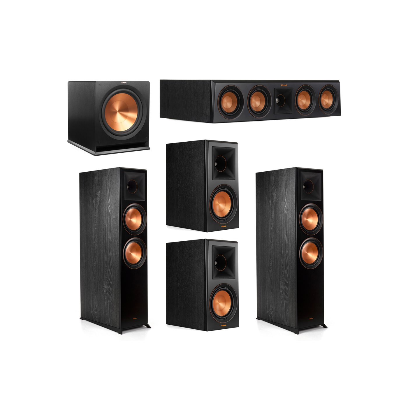 Klipsch 5.1.2 System - 2 RP-8060FA Dolby Atmos Speakers, 1 RP-404C, 2 RP-600M Speakers, 1 R-115SW