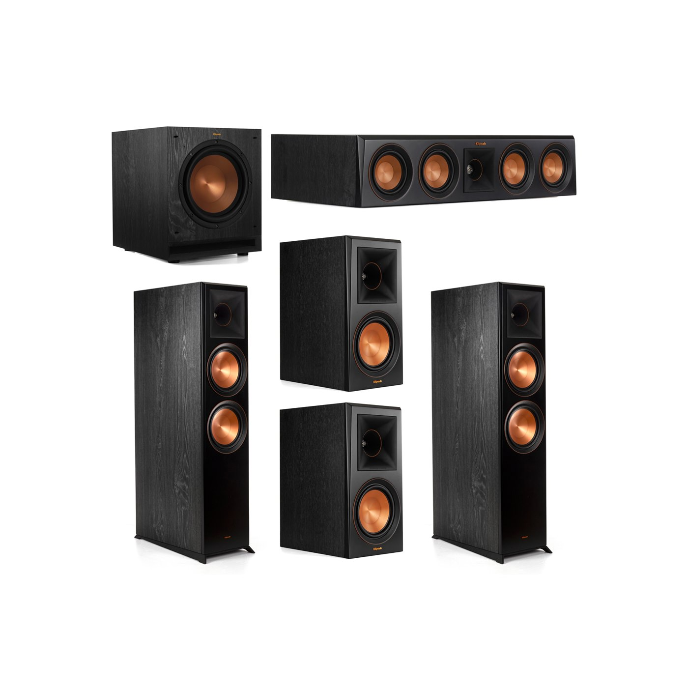 Klipsch 5.1.2 System - 2 RP-8060FA Dolby Atmos Speakers, 1 RP-404C, 2 RP-600M Speakers, 1 SPL-100