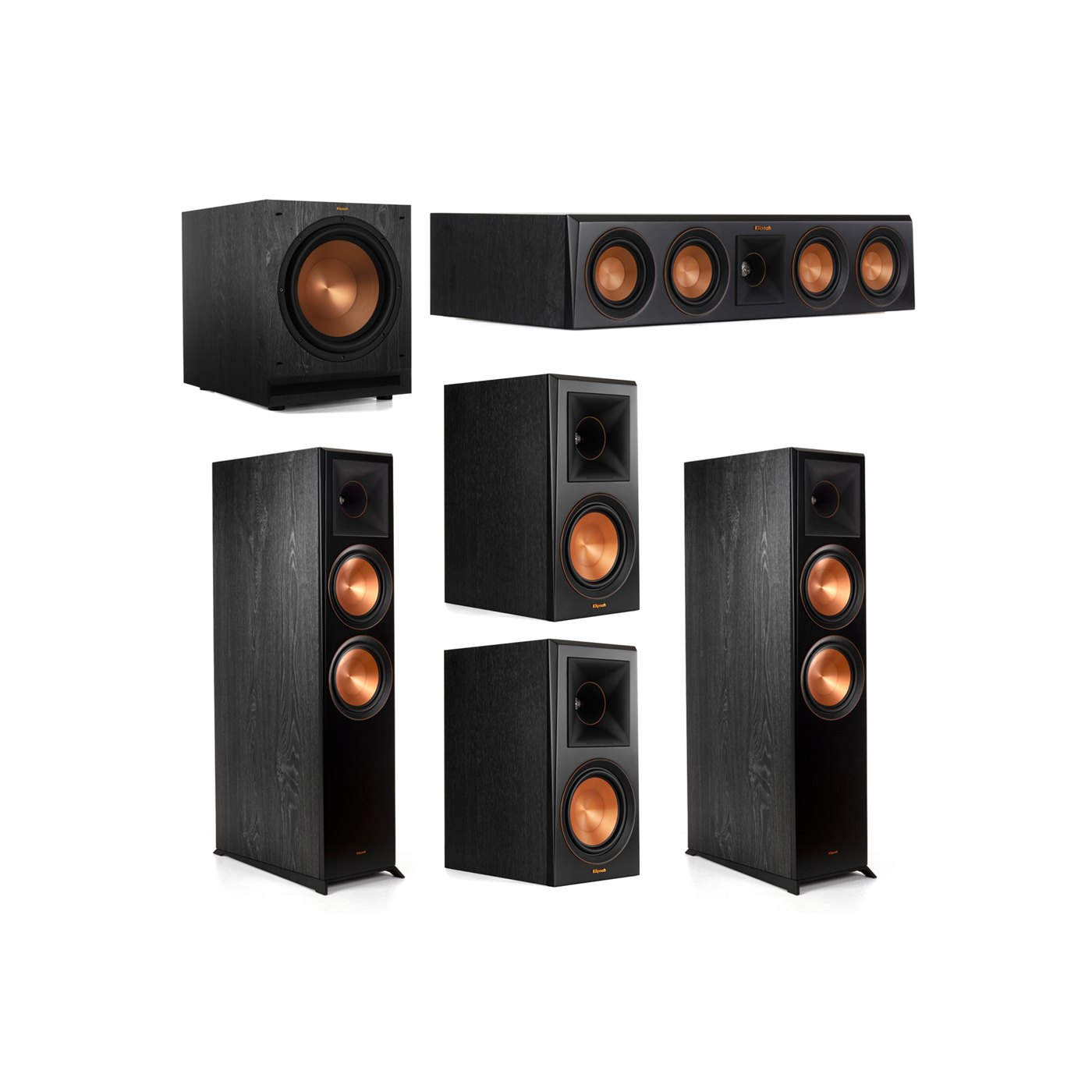 Klipsch 5.1.2 System - 2 RP-8060FA Dolby Atmos Speakers, 1 RP-404C, 2 RP-600M Speakers, 1 SPL-120