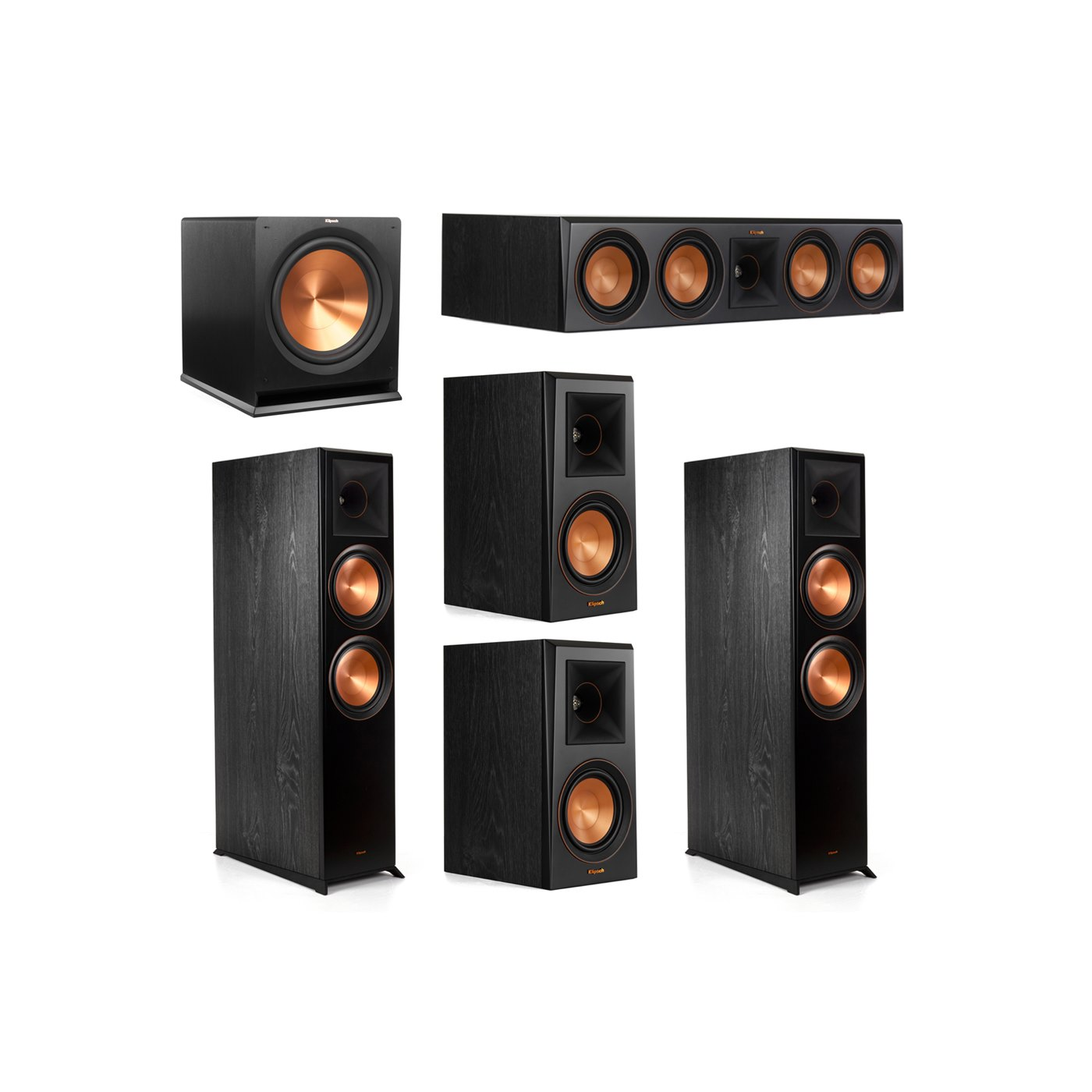Klipsch 5.1.2 System - 2 RP-8060FA Dolby Atmos Speakers, 1 RP-504C, 2 RP-500M Speakers, 1 R-115SW