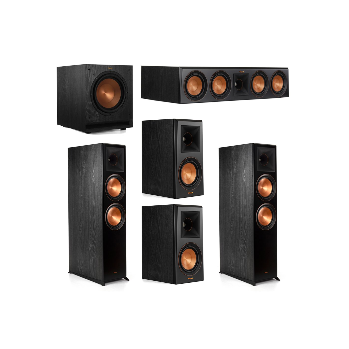 Klipsch 5.1.2 System - 2 RP-8060FA Dolby Atmos Speakers, 1 RP-504C, 2 RP-500M Speakers, 1 SPL-100