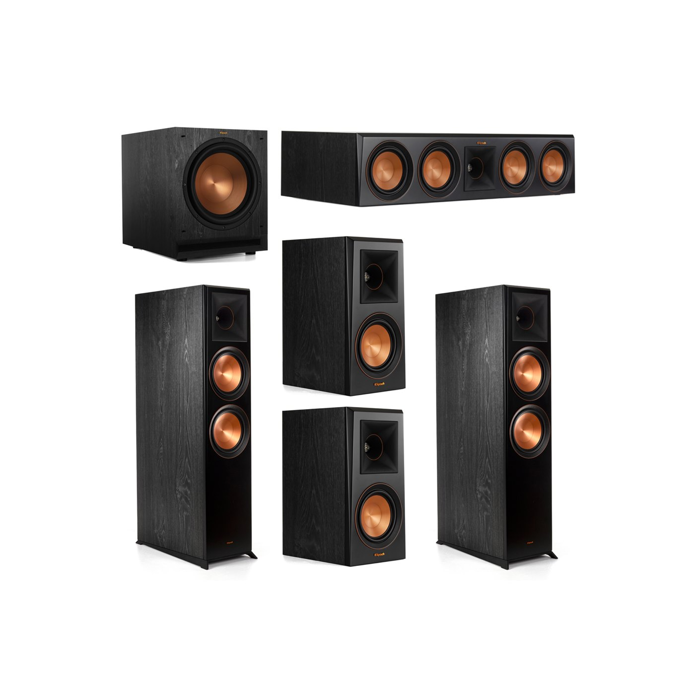 Klipsch 5.1.2 System - 2 RP-8060FA Dolby Atmos Speakers, 1 RP-504C, 2 RP-500M Speakers, 1 SPL-120