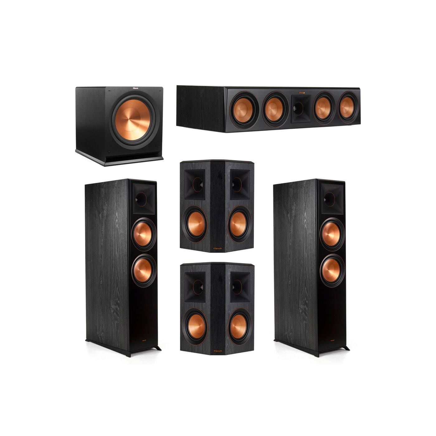 Klipsch 5.1.2 System - 2 RP-8060FA Dolby Atmos Speakers, 1 RP-504C, 2 RP-502S Speakers, 1 R-115SW