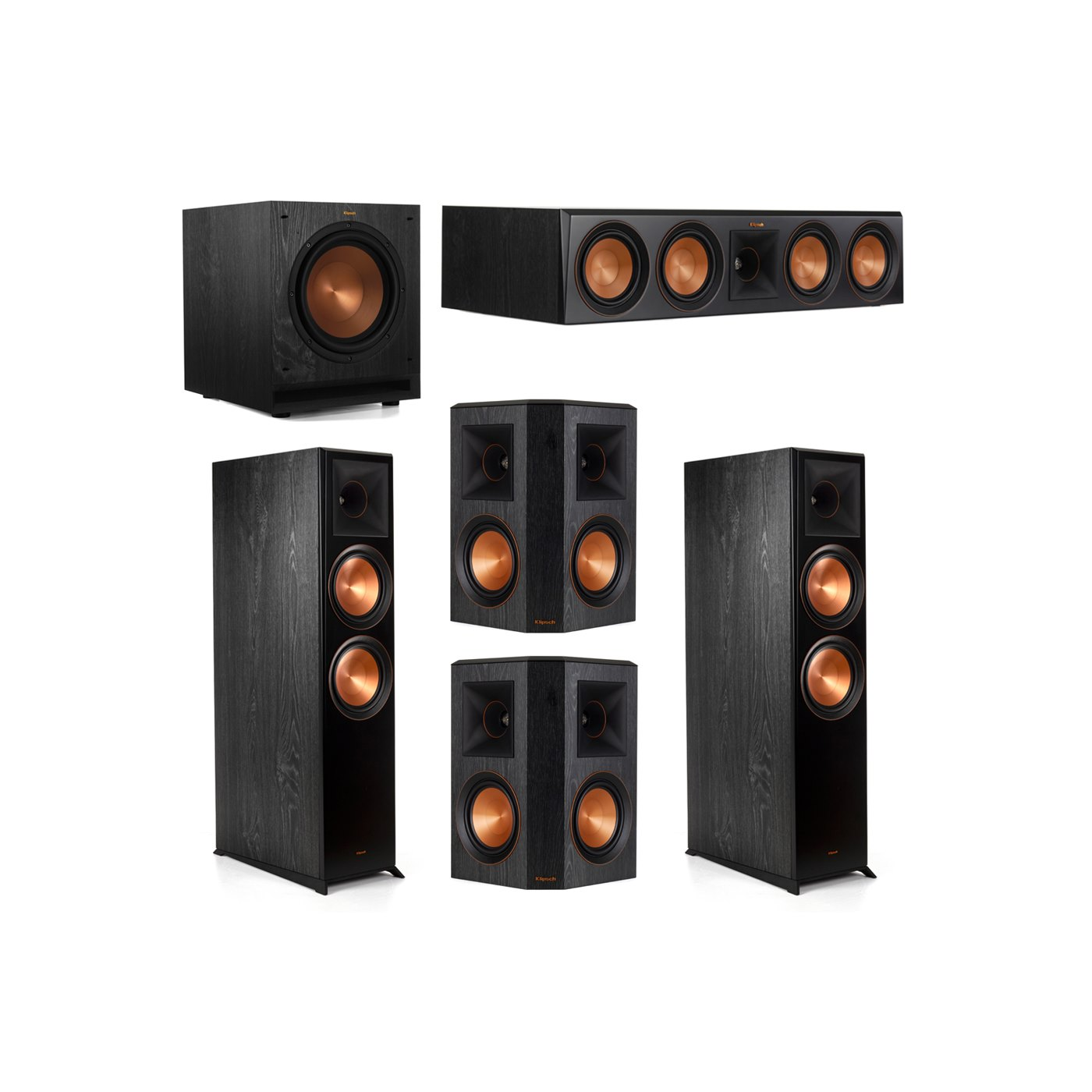 Klipsch 5.1.2 System - 2 RP-8060FA Dolby Atmos Speakers, 1 RP-504C, 2 RP-502S Speakers, 1 SPL-100