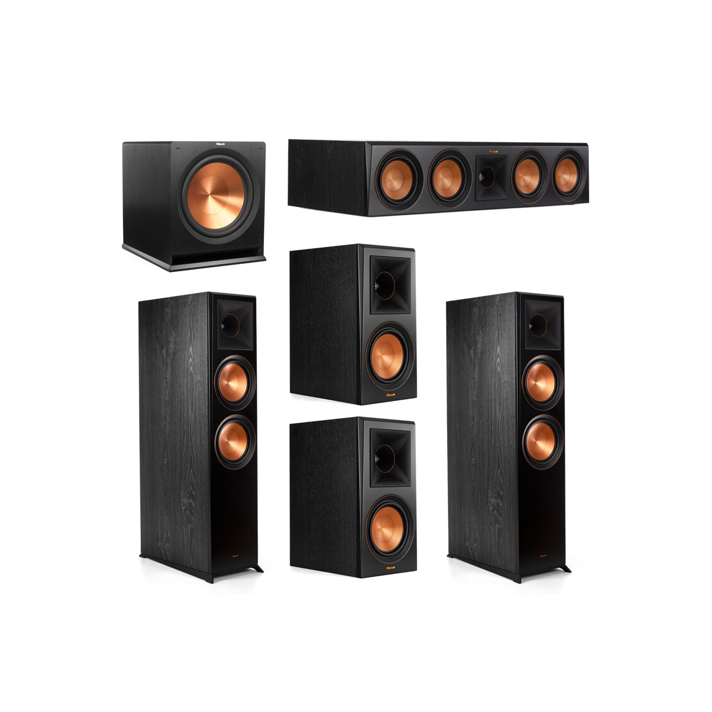Klipsch 5.1.2 System - 2 RP-8060FA Dolby Atmos Speakers, 1 RP-504C, 2 RP-600M Speakers, 1 R-115SW