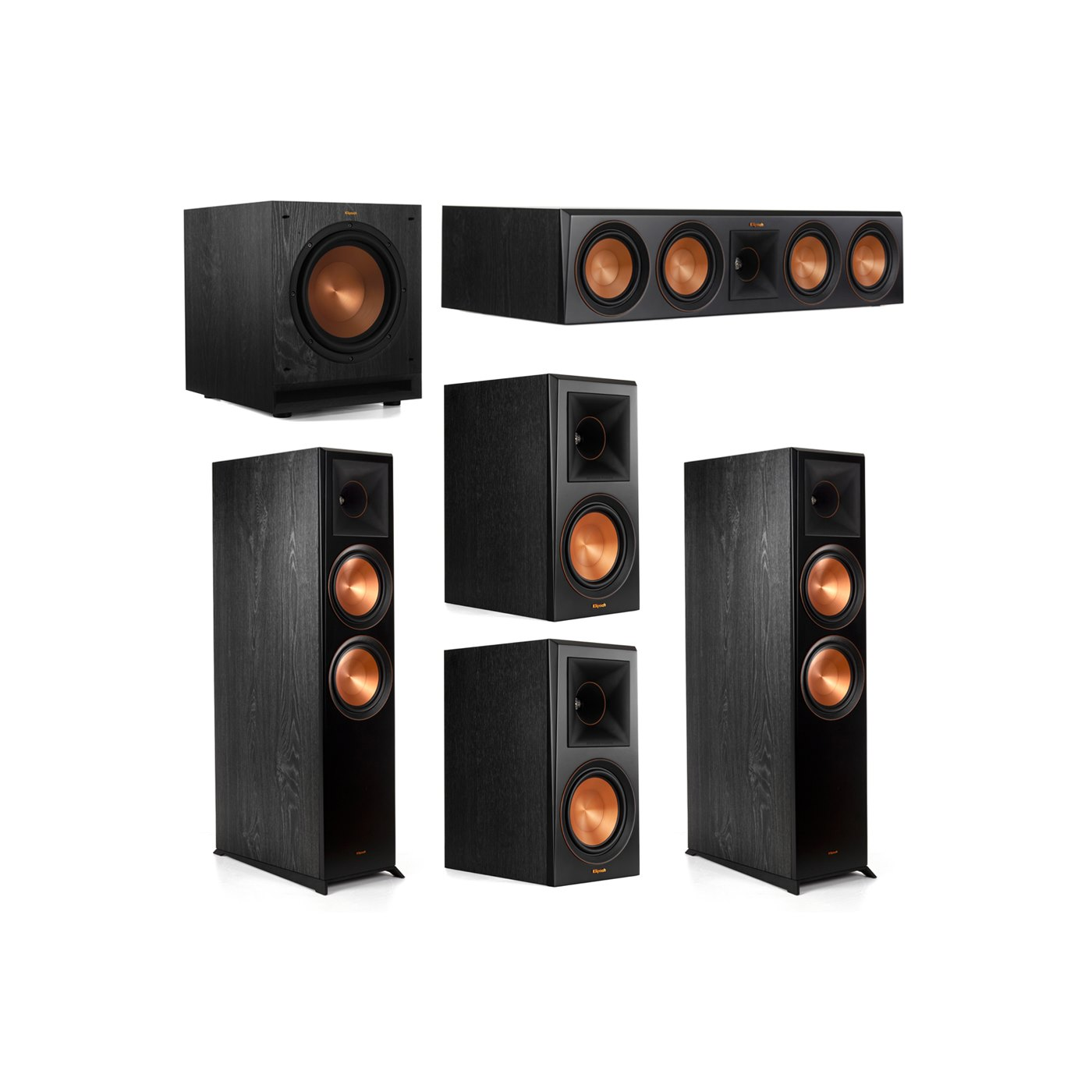 Klipsch 5.1.2 System - 2 RP-8060FA Dolby Atmos Speakers, 1 RP-504C, 2 RP-600M Speakers, 1 SPL-100