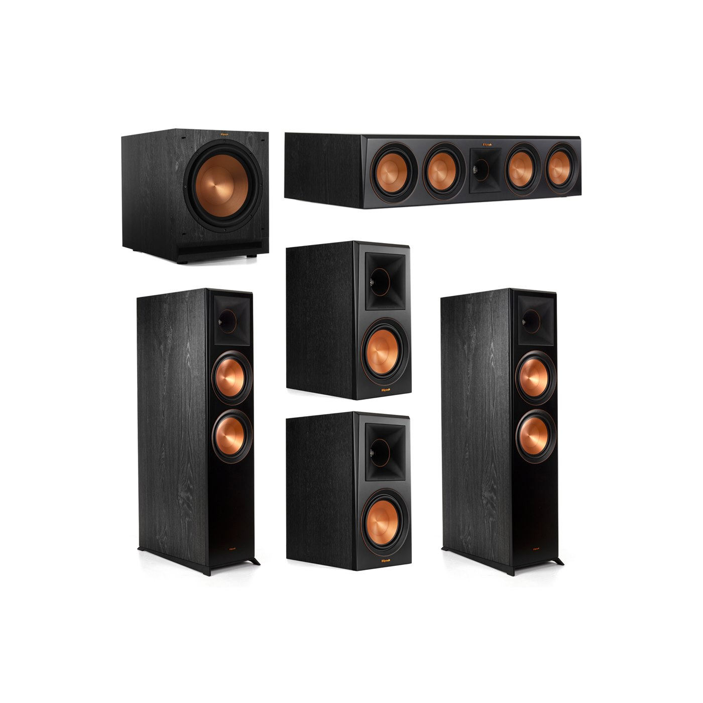 Klipsch 5.1.2 System - 2 RP-8060FA Dolby Atmos Speakers, 1 RP-504C, 2 RP-600M Speakers, 1 SPL-120