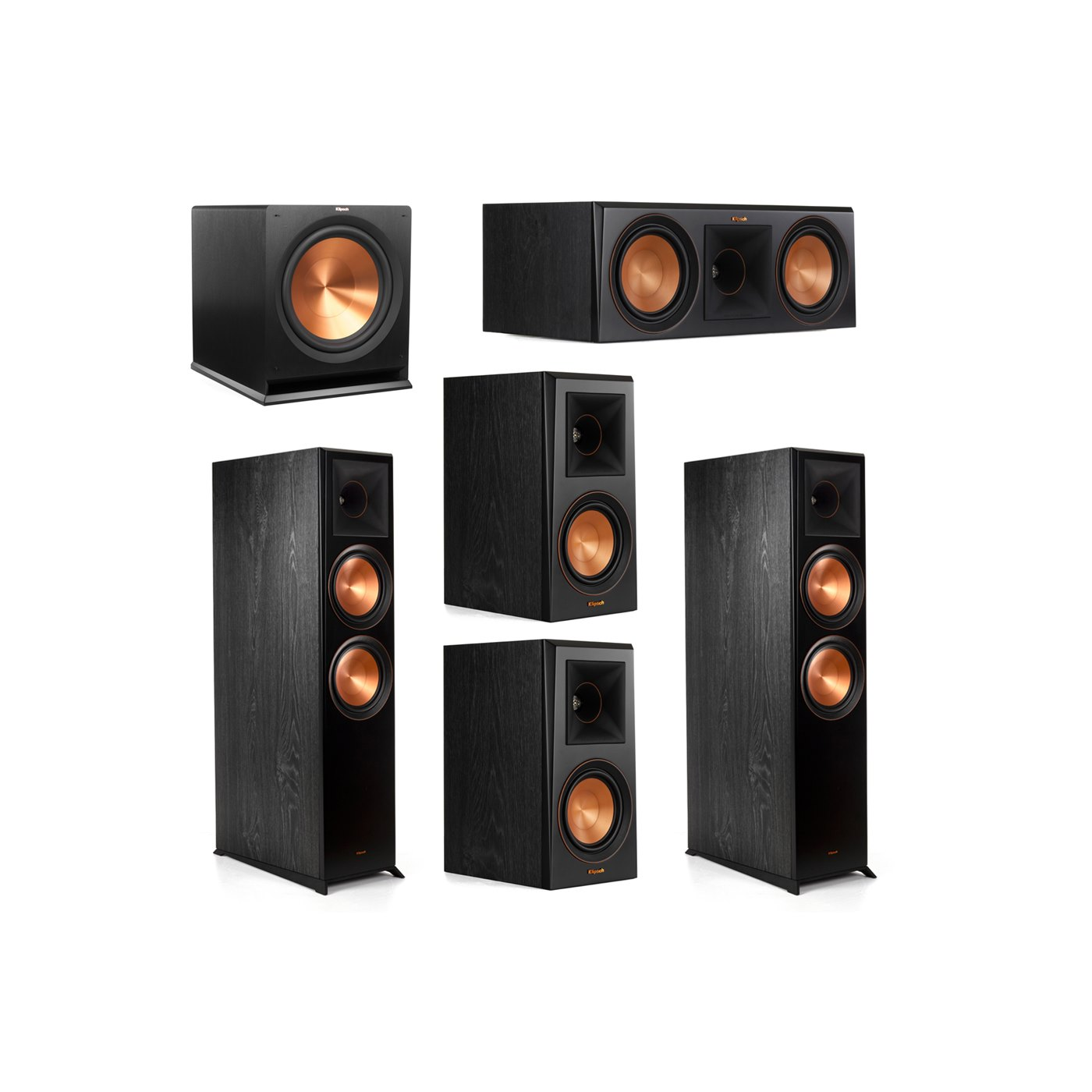 Klipsch 5.1.2 System - 2 RP-8060FA Dolby Atmos Speakers, 1 RP-600C, 2 RP-500M Speakers, 1 R-115SW