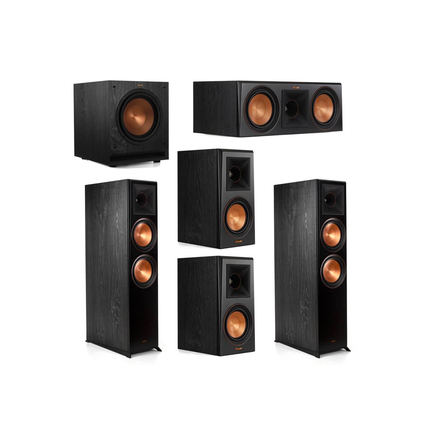 Klipsch 5.1.2 System - 2 RP-8060FA Dolby Atmos Speakers, 1 RP-600C, 2 RP-500M Speakers, 1 SPL-100