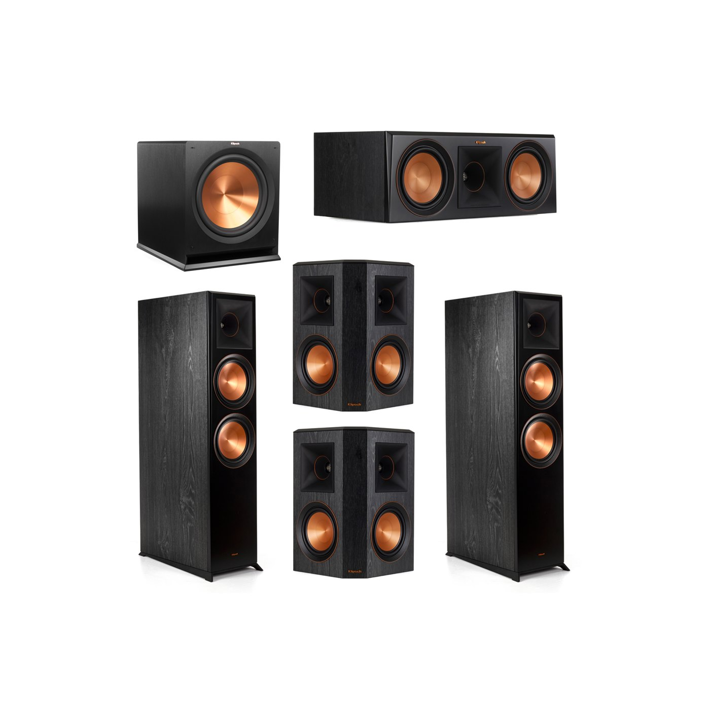 Klipsch 5.1.2 System - 2 RP-8060FA Dolby Atmos Speakers, 1 RP-600C, 2 RP-502S Speakers, 1 R-115SW