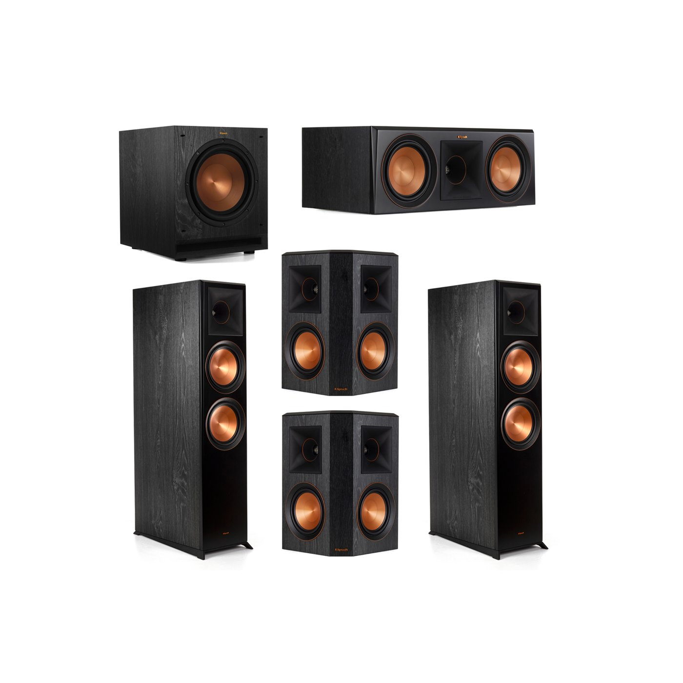 Klipsch 5.1.2 System - 2 RP-8060FA Dolby Atmos Speakers, 1 RP-600C, 2 RP-502S Speakers, 1 SPL-100