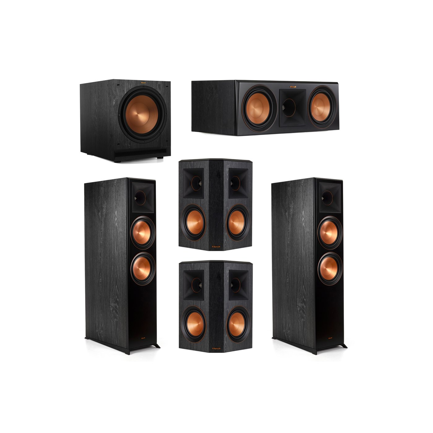 Klipsch 5.1.2 System - 2 RP-8060FA Dolby Atmos Speakers, 1 RP-600C, 2 RP-502S Speakers, 1 SPL-120