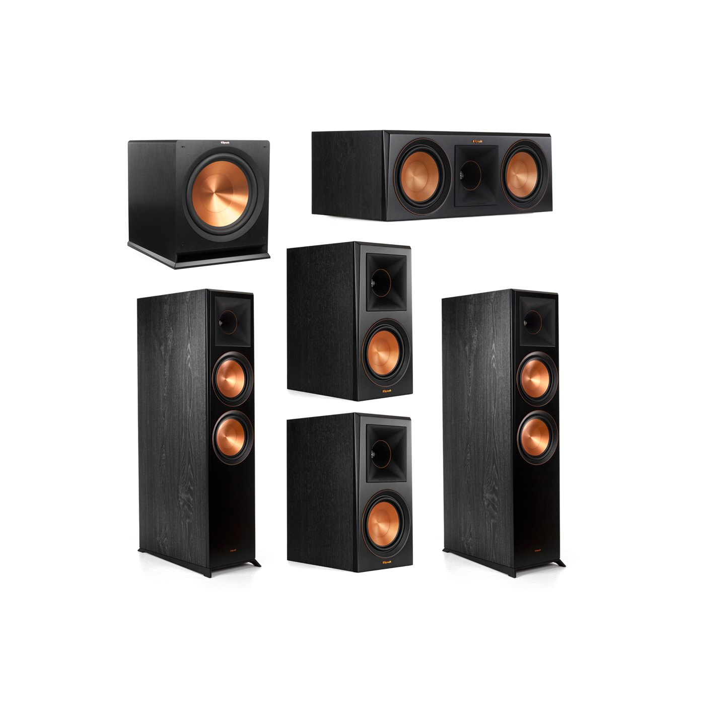 Klipsch 5.1.2 System - 2 RP-8060FA Dolby Atmos Speakers, 1 RP-600C, 2 RP-600M Speakers, 1 R-115SW
