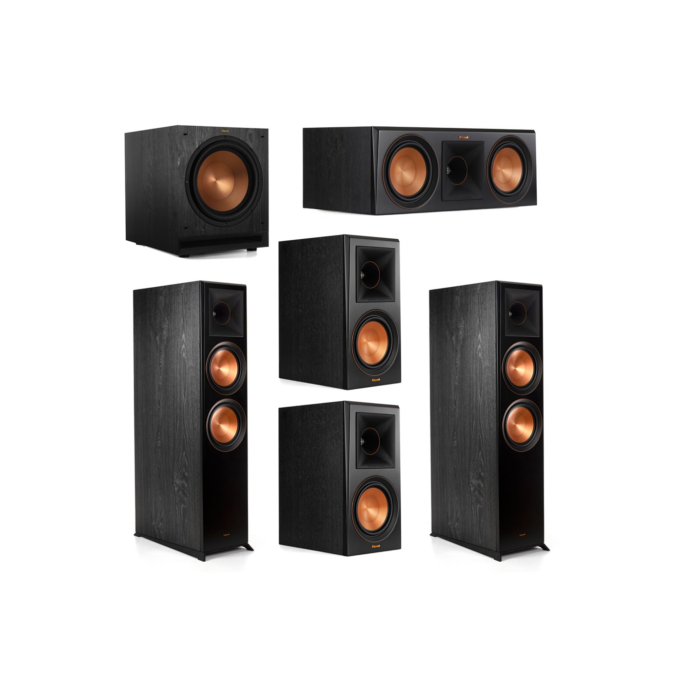 Klipsch 5.1.2 System - 2 RP-8060FA Dolby Atmos Speakers, 1 RP-600C, 2 RP-600M Speakers, 1 SPL-120