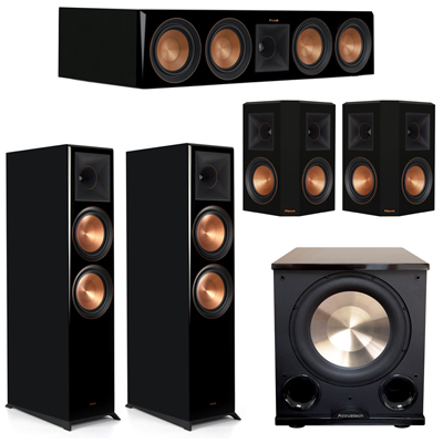 Klipsch 5.1 Piano Black System with 2 RP-8000F, 1 RP-504C, 2 RP-502S, 1 PL-200II