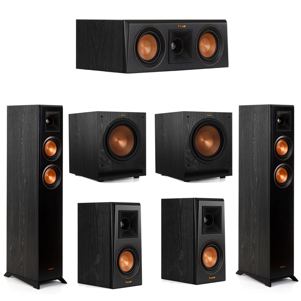 Klipsch 5.2 System with 2 RP-4000F Floorstanding Speakers, 1 Klipsch RP-400C Center Speaker, 2 Klipsch RP-400M Surround Speakers, 2 Klipsch SPL-100 Subwoofers