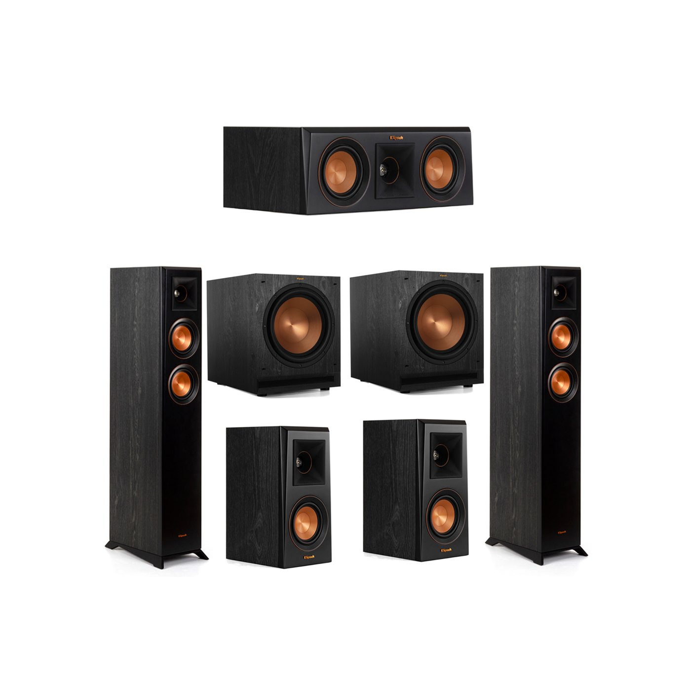 Klipsch 5.2 System with 2 RP-4000F Floorstanding Speakers, 1 Klipsch RP-400C Center Speaker, 2 Klipsch RP-400M Surround Speakers, 2 Klipsch SPL-120 Subwoofers