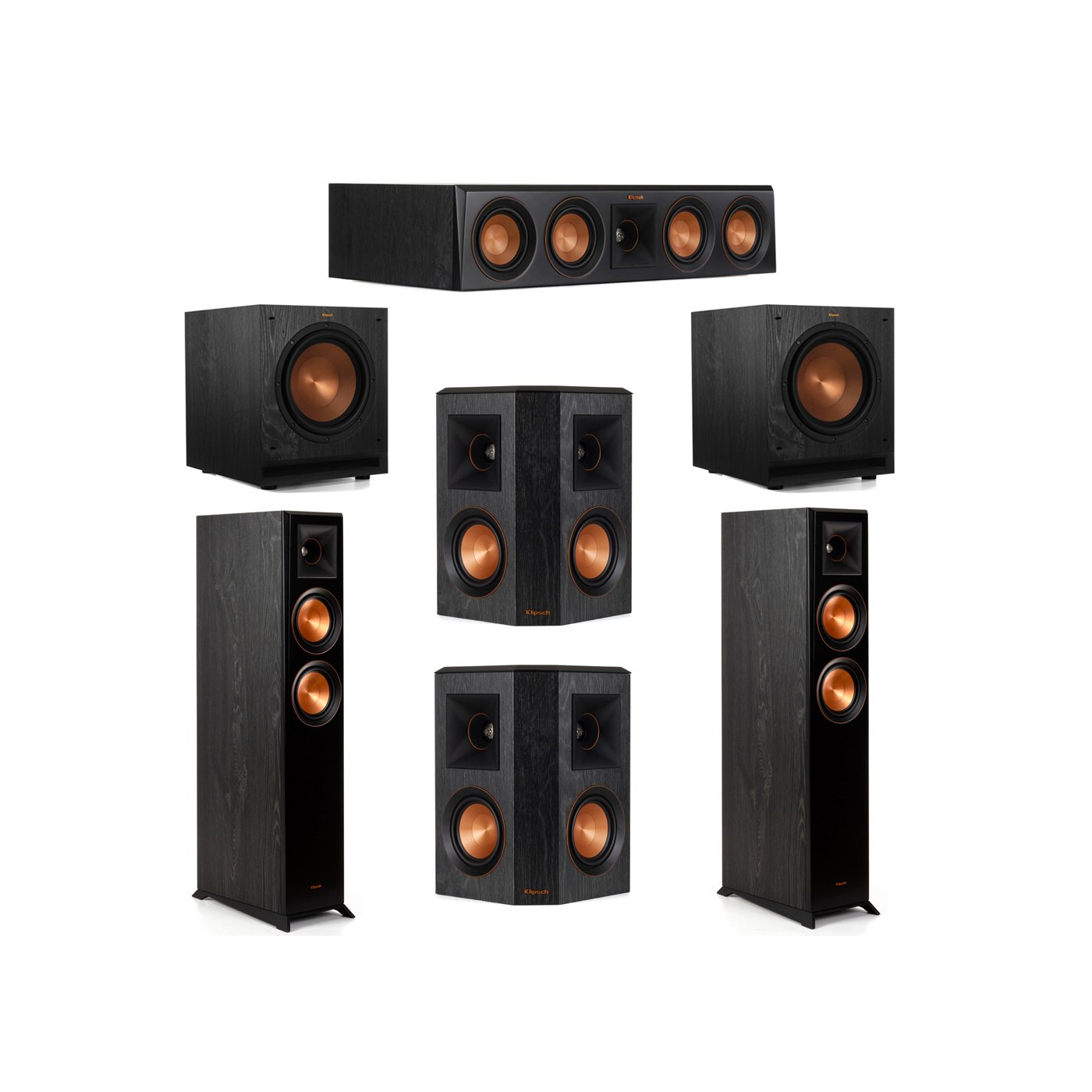 Klipsch 5.2 System with 2 RP-5000F Floorstanding Speakers, 1 Klipsch RP-404C Center Speaker, 2 Klipsch RP-402S Surround Speakers, 2 Klipsch SPL-100 Subwoofers