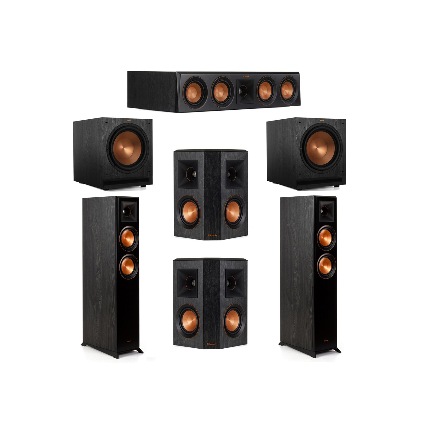 Klipsch 5.2 System with 2 RP-5000F Floorstanding Speakers, 1 Klipsch RP-404C Center Speaker, 2 Klipsch RP-402S Surround Speakers, 2 Klipsch SPL-120 Subwoofers