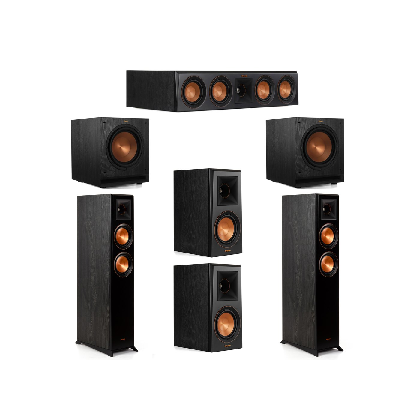 Klipsch 5.2 System with 2 RP-5000F Floorstanding Speakers, 1 Klipsch RP-404C Center Speaker, 2 Klipsch RP-500M Surround Speakers, 2 Klipsch SPL-100 Subwoofers