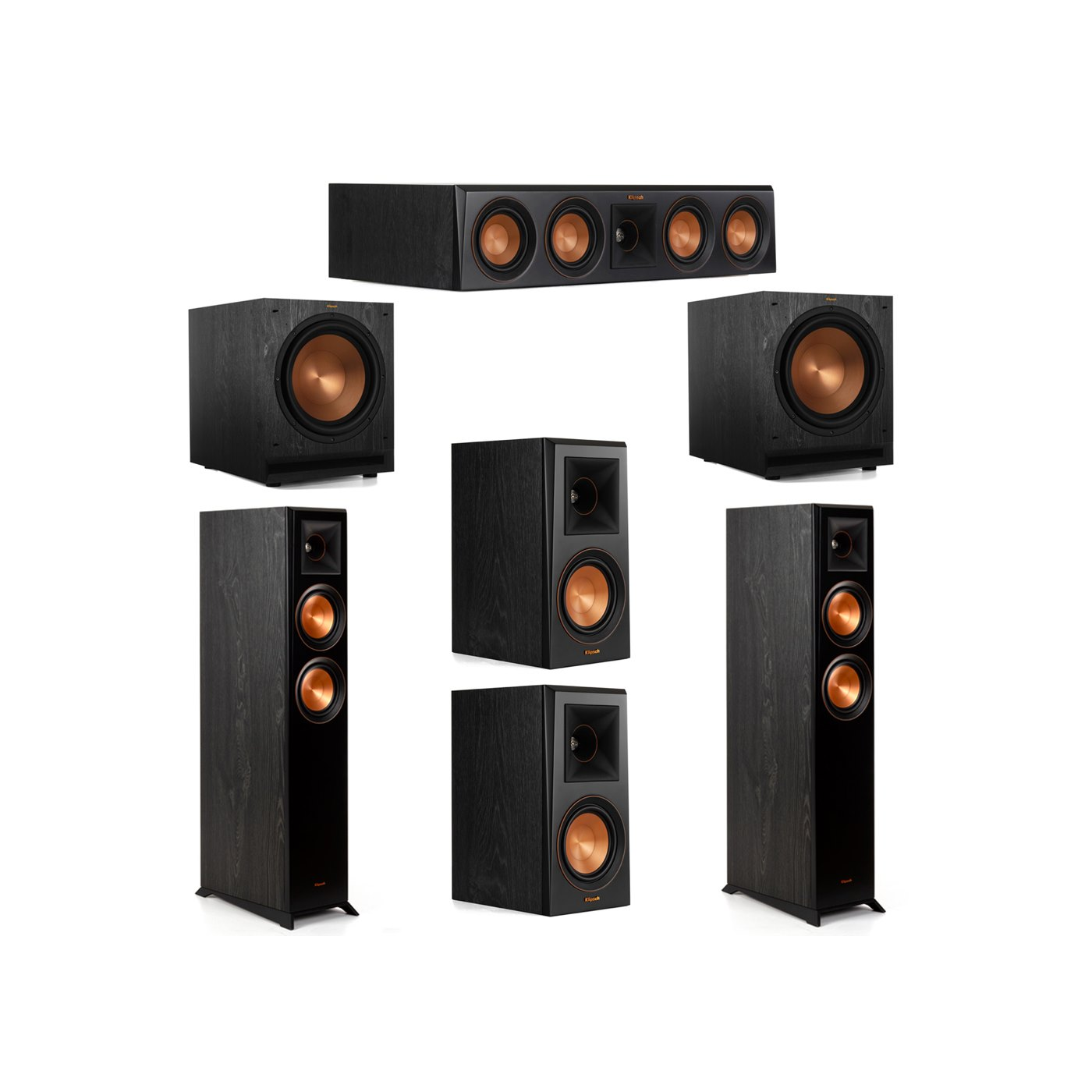Klipsch 5.2 System with 2 RP-5000F Floorstanding Speakers, 1 Klipsch RP-404C Center Speaker, 2 Klipsch RP-500M Surround Speakers, 2 Klipsch SPL-120 Subwoofers