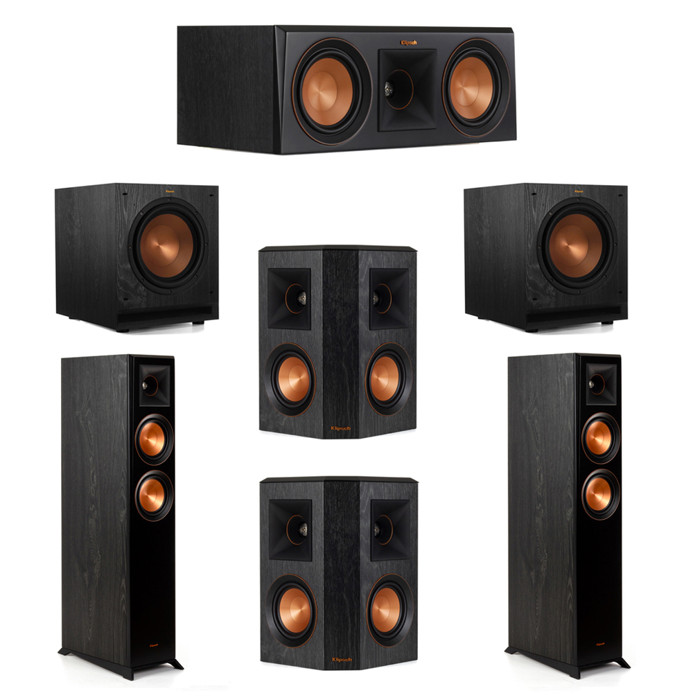 Klipsch 5.2 System with 2 RP-5000F Floorstanding Speakers, 1 Klipsch RP-500C Center Speaker, 2 Klipsch RP-402S Surround Speakers, 2 Klipsch SPL-100 Subwoofers