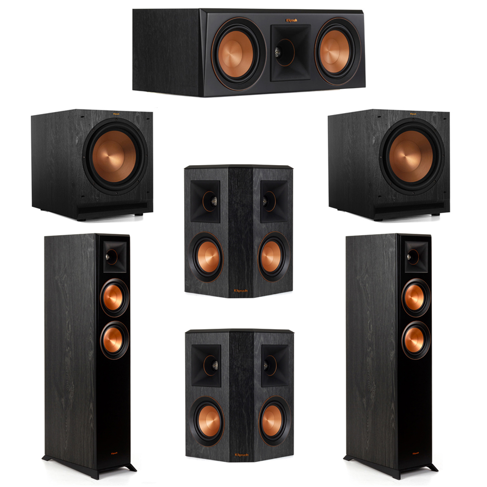 Klipsch 5.2 System with 2 RP-5000F Floorstanding Speakers, 1 Klipsch RP-500C Center Speaker, 2 Klipsch RP-402S Surround Speakers, 2 Klipsch SPL-120 Subwoofers