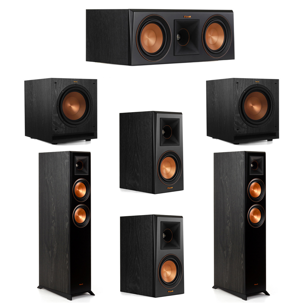 Klipsch 5.2 System with 2 RP-5000F Floorstanding Speakers, 1 Klipsch RP-500C Center Speaker, 2 Klipsch RP-500M Surround Speakers, 2 Klipsch SPL-100 Subwoofers
