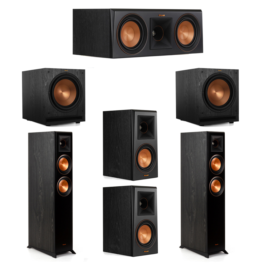 Klipsch 5.2 System with 2 RP-5000F Floorstanding Speakers, 1 Klipsch RP-500C Center Speaker, 2 Klipsch RP-500M Surround Speakers, 2 Klipsch SPL-120 Subwoofers