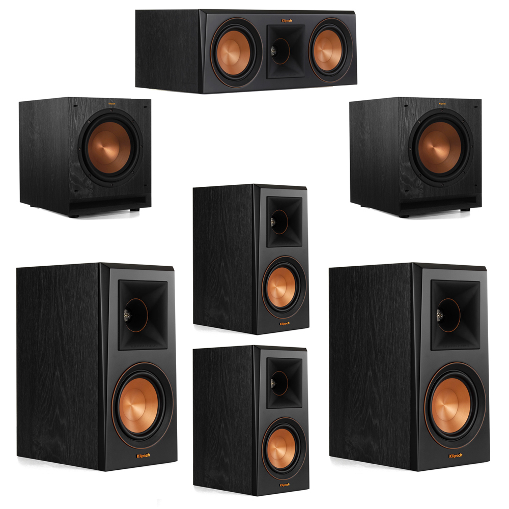 Klipsch 5.2 System with 2 RP-500M Bookshelf Speakers, 1 Klipsch RP-500C Center Speaker, 2 Klipsch RP-500M Surround Speakers, 2 Klipsch SPL-100 Subwoofers