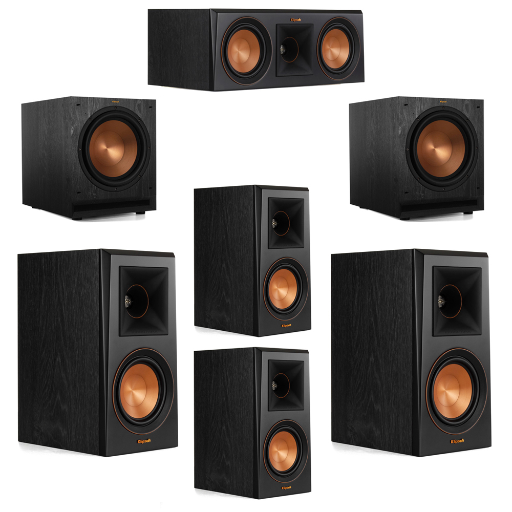 Klipsch 5.2 System with 2 RP-500M Bookshelf Speakers, 1 Klipsch RP-500C Center Speaker, 2 Klipsch RP-500M Surround Speakers, 2 Klipsch SPL-120 Subwoofers
