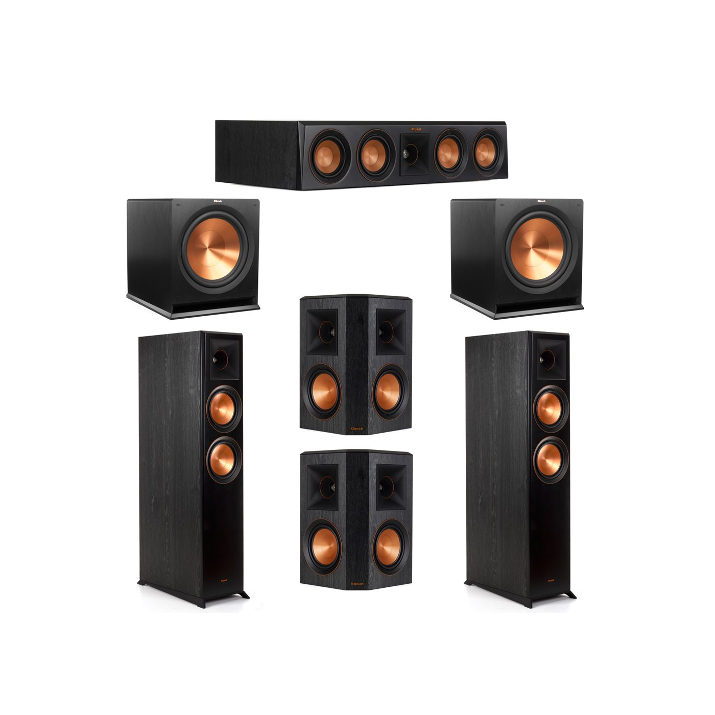 Klipsch 5.2 System with 2 RP-6000F Floorstanding Speakers, 1 Klipsch RP-404C Center Speaker, 2 Klipsch RP-502S Surround Speakers, 2 Klipsch R-115SW Subwoofers