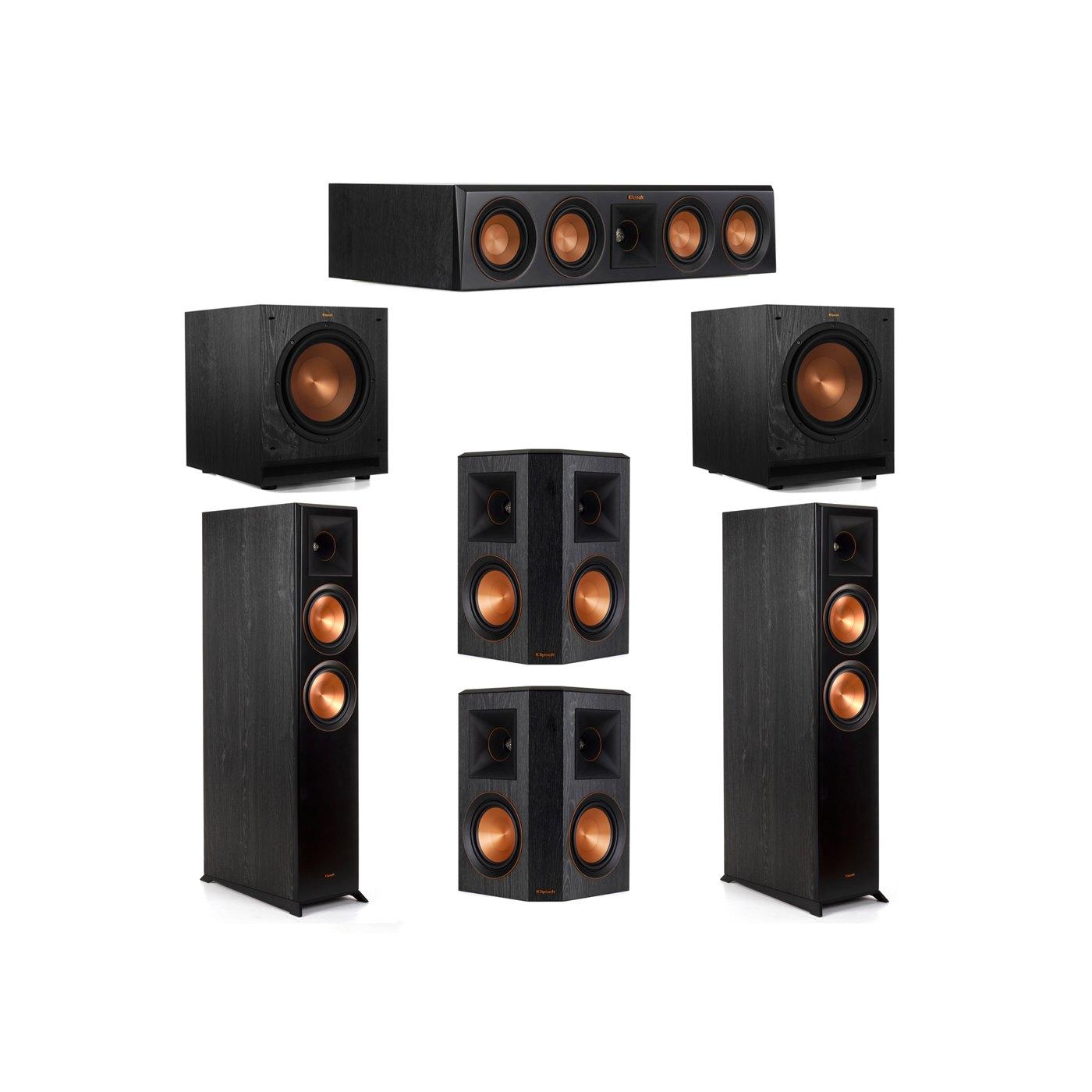 Klipsch 5.2 System with 2 RP-6000F Floorstanding Speakers, 1 Klipsch RP-404C Center Speaker, 2 Klipsch RP-502S Surround Speakers, 2 Klipsch SPL-100 Subwoofers