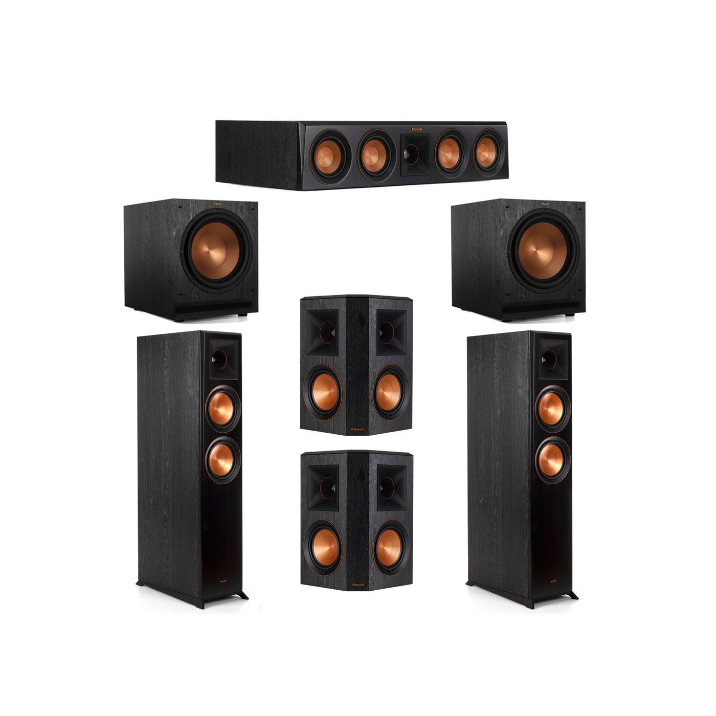 Klipsch 5.2 System with 2 RP-6000F Floorstanding Speakers, 1 Klipsch RP-404C Center Speaker, 2 Klipsch RP-502S Surround Speakers, 2 Klipsch SPL-120 Subwoofers
