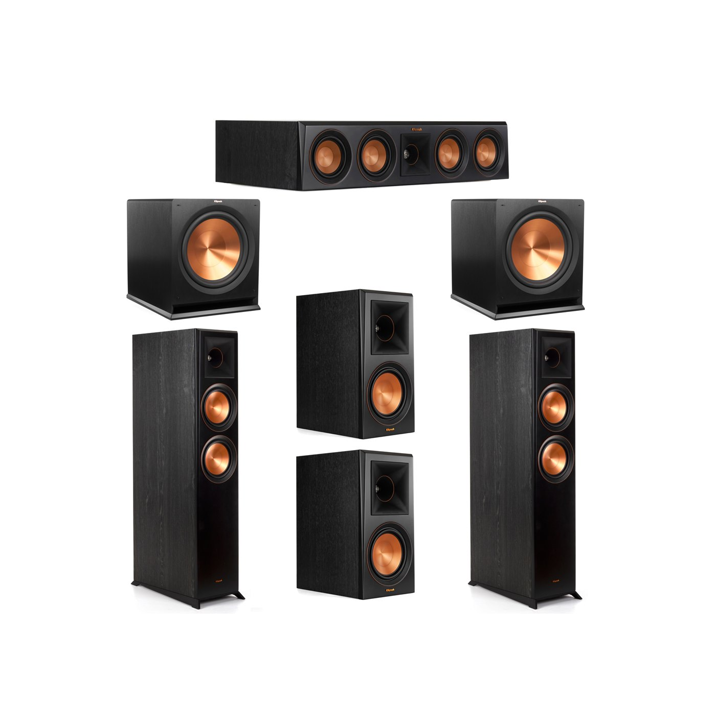 Klipsch 5.2 System with 2 RP-6000F Floorstanding Speakers, 1 Klipsch RP-404C Center Speaker, 2 Klipsch RP-600M Surround Speakers, 2 Klipsch R-115SW Subwoofers
