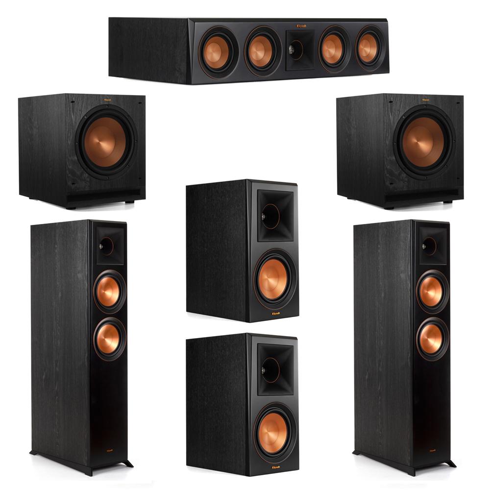 Klipsch 5.2 System with 2 RP-6000F Floorstanding Speakers, 1 Klipsch RP-404C Center Speaker, 2 Klipsch RP-600M Surround Speakers, 2 Klipsch SPL-100 Subwoofers