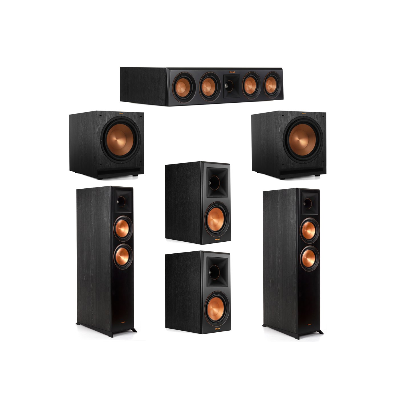 Klipsch 5.2 System with 2 RP-6000F Floorstanding Speakers, 1 Klipsch RP-404C Center Speaker, 2 Klipsch RP-600M Surround Speakers, 2 Klipsch SPL-120 Subwoofers