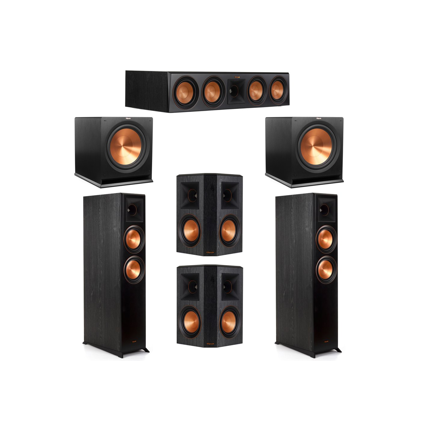 Klipsch 5.2 System with 2 RP-6000F Floorstanding Speakers, 1 Klipsch RP-504C Center Speaker, 2 Klipsch RP-502S Surround Speakers, 2 Klipsch R-115SW Subwoofers