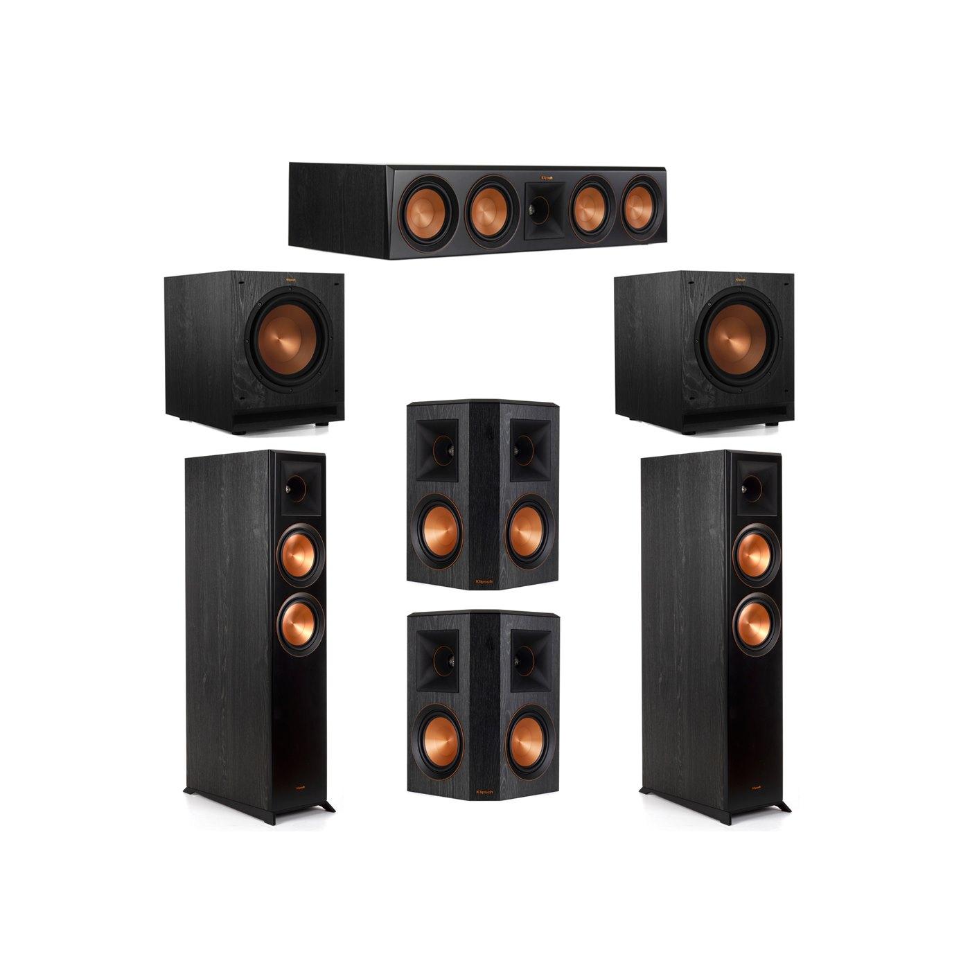 Klipsch 5.2 System with 2 RP-6000F Floorstanding Speakers, 1 Klipsch RP-504C Center Speaker, 2 Klipsch RP-502S Surround Speakers, 2 Klipsch SPL-100 Subwoofers