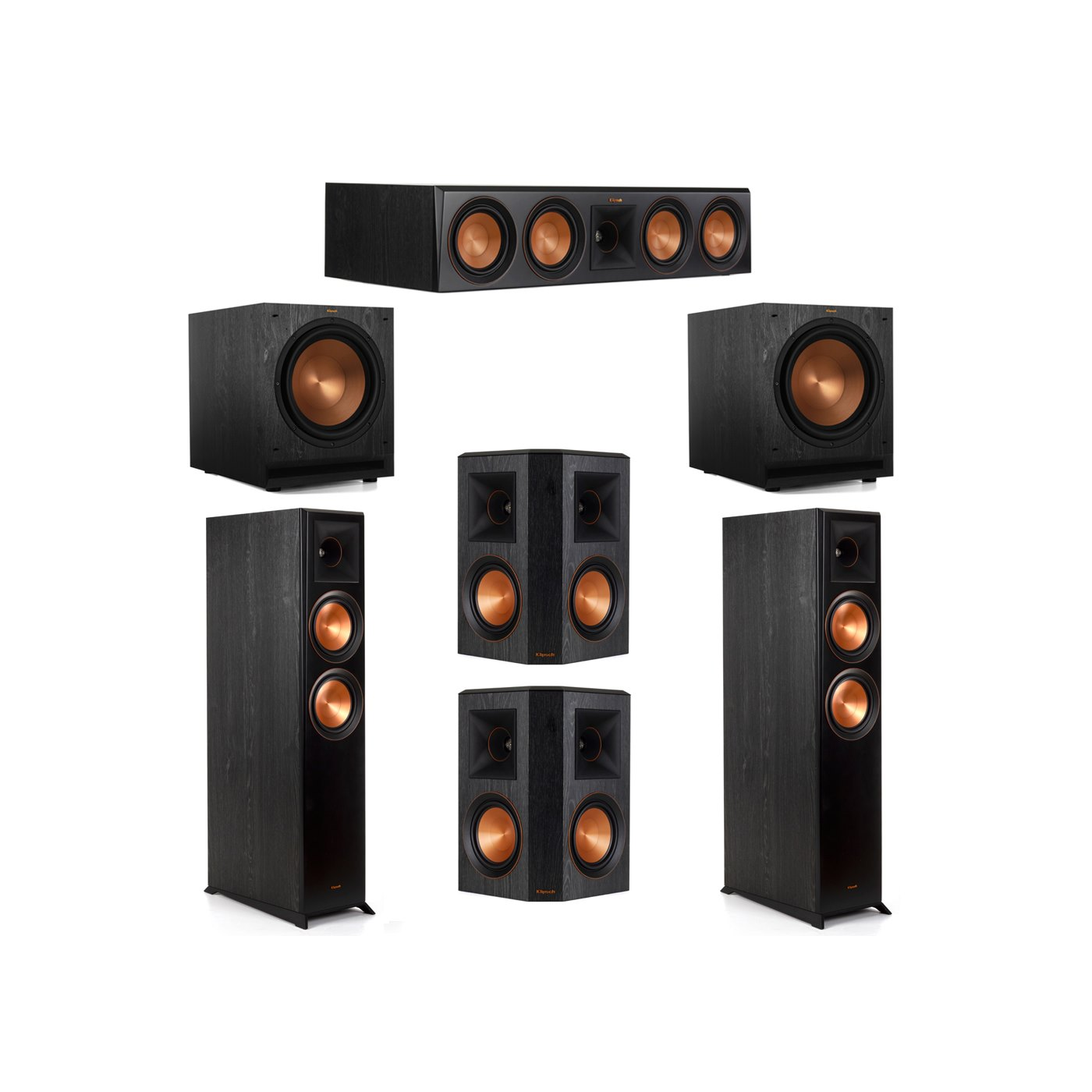 Klipsch 5.2 System with 2 RP-6000F Floorstanding Speakers, 1 Klipsch RP-504C Center Speaker, 2 Klipsch RP-502S Surround Speakers, 2 Klipsch SPL-120 Subwoofers