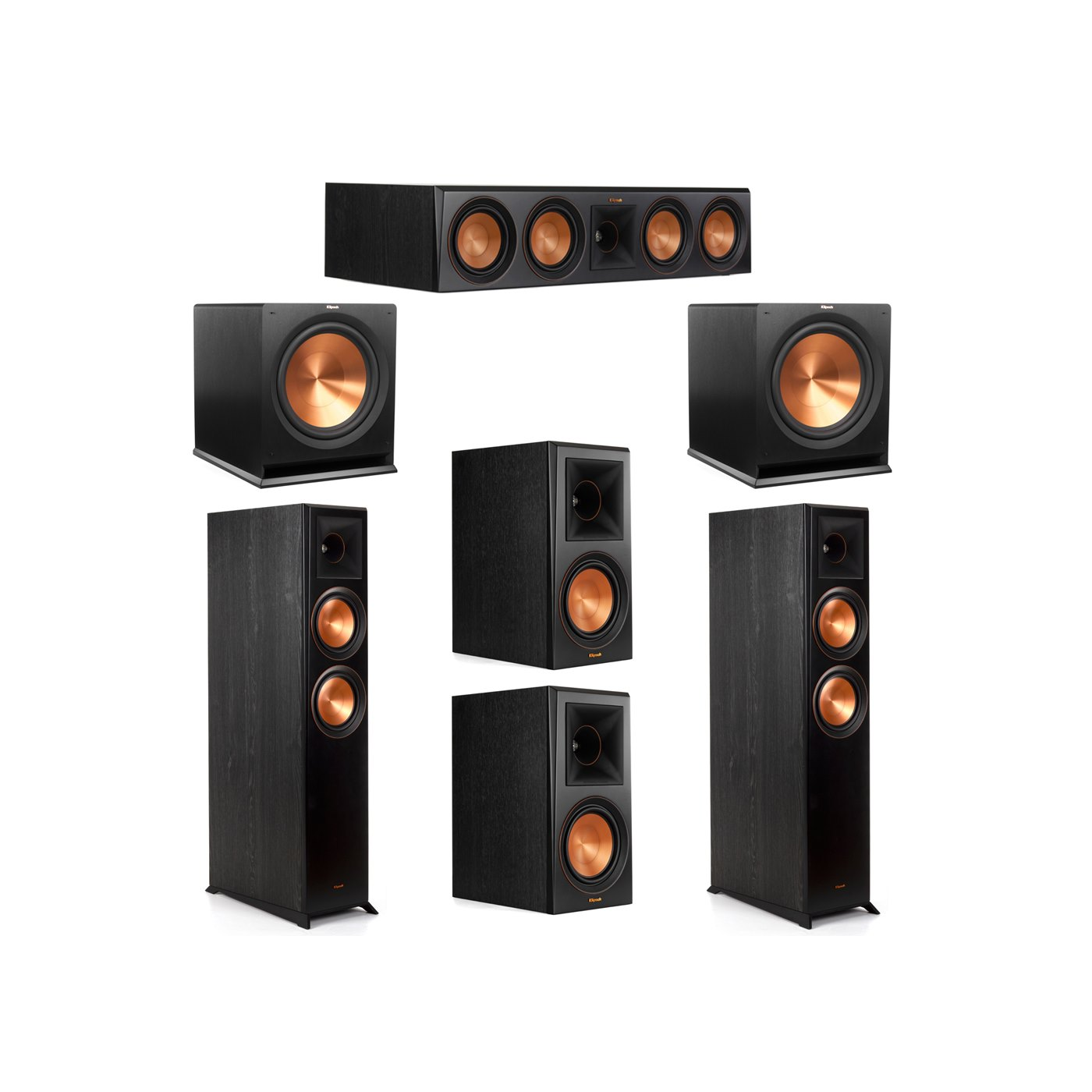 Klipsch 5.2 System with 2 RP-6000F Floorstanding Speakers, 1 Klipsch RP-504C Center Speaker, 2 Klipsch RP-600M Surround Speakers, 2 Klipsch R-115SW Subwoofers