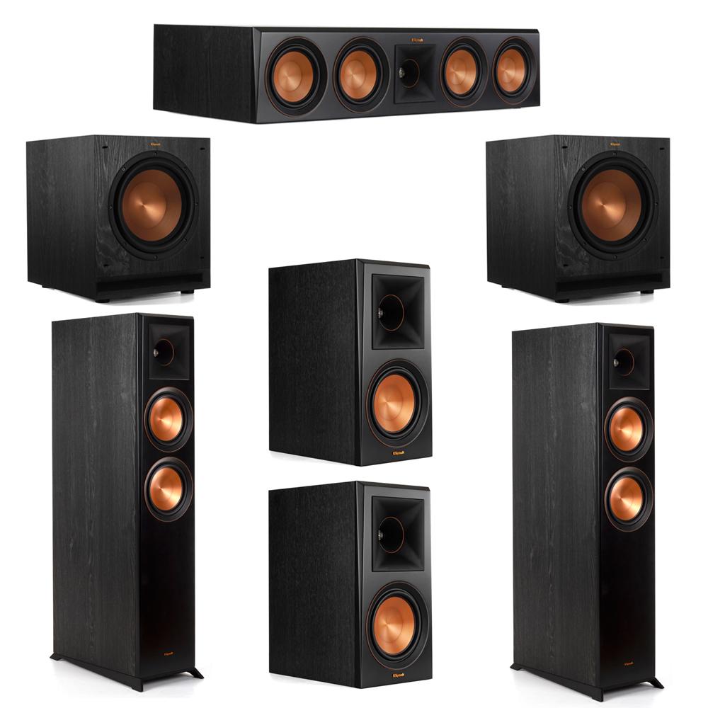 Klipsch 5.2 System with 2 RP-6000F Floorstanding Speakers, 1 Klipsch RP-504C Center Speaker, 2 Klipsch RP-600M Surround Speakers, 2 Klipsch SPL-100 Subwoofers