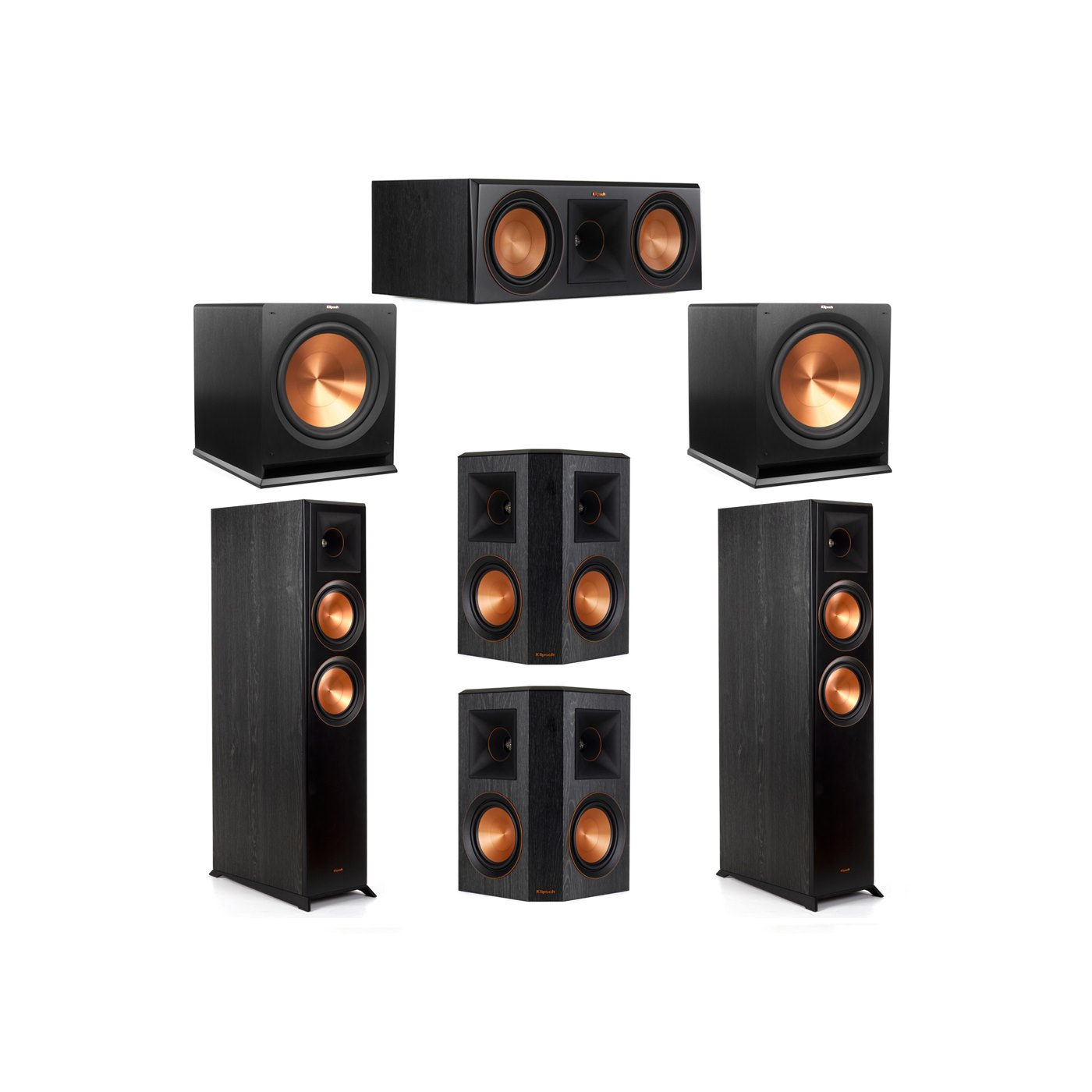 Klipsch 5.2 System with 2 RP-6000F Floorstanding Speakers, 1 Klipsch RP-600C Center Speaker, 2 Klipsch RP-502S Surround Speakers, 2 Klipsch R-115SW Subwoofers